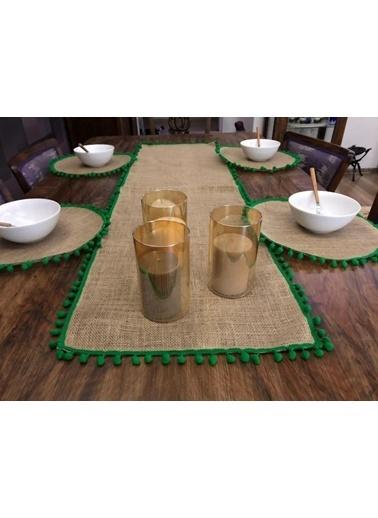 Giz Home Giz Home Ta57Ay E&C Jüt 4 Kişilik Ponponlu Runner Ve Supla Takımı Renkli
